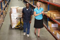 Businesswoman And Male Worker In Distribution Warehouse - stock photo