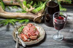 red meat tastes best with wine - stock photo