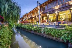 Fuzhou, china traditional shopping district Stock Photos