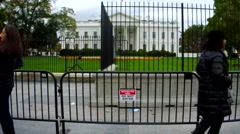 New White House fence after security scare Stock Footage