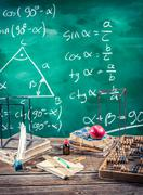 Lecture of trigonometry in school Stock Photos