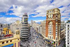 gran via, madird, spain cityscape - stock photo
