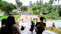Tourists visit Royal Palace of Luang prabang (National Museum) Stock Footage