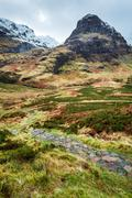 mountain footpath in glencoe, scotland - stock photo