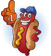 Hot Dog Sports Fan Cartoon Stock Illustration
