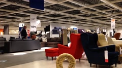 people shopping their furniture inside ikea store - stock footage