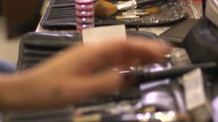 Make-up tools behind the scenes Stock Footage