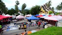 Shopping street at Luang Prabang Stock Footage