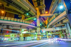 tokyo, japan cityscape and expressway junction. - stock photo