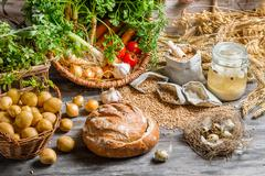 preparations for making homemade sour soup - stock photo