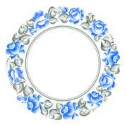 Gzhel style circle frame. Stock Illustration