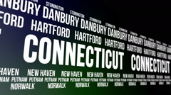 Connecticut State and Major Cities Scrolling Banner Stock Footage