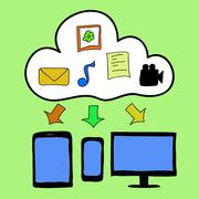 Doodle style cloud computing Stock Illustration