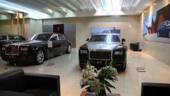 Bentley Rolls Royce Cars in the Show Room Stock Footage