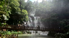 Tat Kuang Si waterfall in Luang Prabang Stock Footage