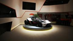 KTM Sports car in the Show Room Stock Footage