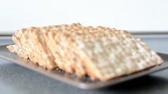 carbohydrates - bread wafers - stock footage