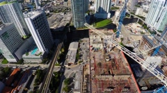 Aerial video  cranes in motion Brickell 2 Stock Footage