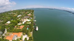Aerial Miami waterfront Houses Stock Footage