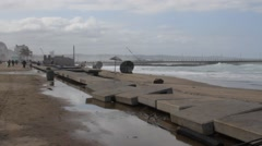 Beach damage after sea storm pounded Durban's coastline in October 2014. Stock Footage