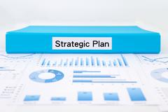 Strategic plan, graphs, charts and evaluation report Stock Photos