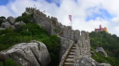 Castle of the Moors in Sintra, Portugal Stock Footage