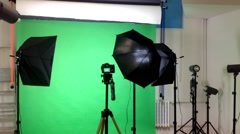 film production - behind scenes - lighting - green screen studio - stock footage