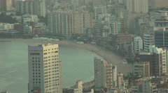 Aerial View Of High Rise Buildings And Beach In Busan South Korea 4K Stock Footage