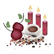 Christmas Apples with Spices and Hot Coffee Stock Illustration