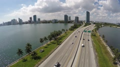 Aerial Julia Tuttle Causeway Westbound Stock Footage