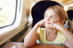 Girl relaxing on train journey Stock Photos