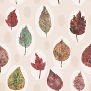 Watercolor autumn leaves seamless pattern, paint stains. vector Stock Illustration