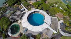 Aerial video Miami seaquarium dolphin tank Stock Footage