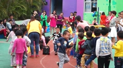 China kindergarten parent-child activities, the children are very happy Stock Footage