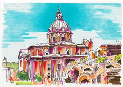 Original marker painting of Rome Italy cityscape Stock Illustration