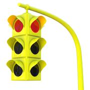 yellow traffic light on red - stock illustration