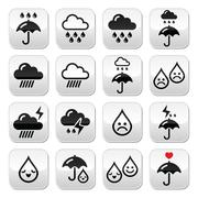 Rain, thunderstorm, heavy clouds  vector buttons set - stock illustration
