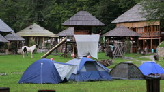 Camp in ethno village on mountain Stock Footage