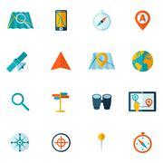 Navigation icon flat set Stock Illustration