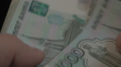 Money in Russia. Banknotes one thousand rubles. To count banknotes. Black Stock Footage
