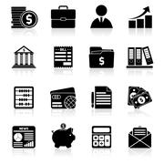 Accounting icons set black - stock illustration