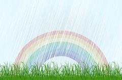 Landscape with grass and rainbow. Vector Stock Illustration