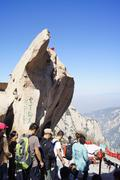 China Huashan Mountains Rock Crowd People Stock Photos