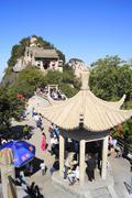 China Huashan Mountains North Peak pavilion - stock photo