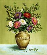 asters in a amphora, paintings - stock illustration