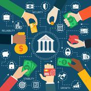 Business hands financial flowchart - stock illustration