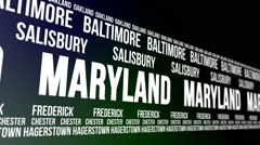 Maryland State and Major Cities Scrolling Banner Stock Footage