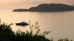 Luxury yacht anchored in the bay of the sea - stock footage