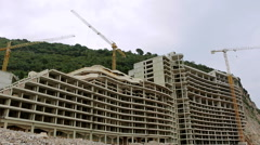 Luxury hotel under construction on the sea coast Stock Footage
