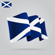 Flat and waving Scottish Flag. Vector Stock Illustration